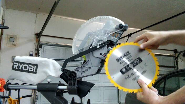 how to change the blade on the Ryobi miter saw