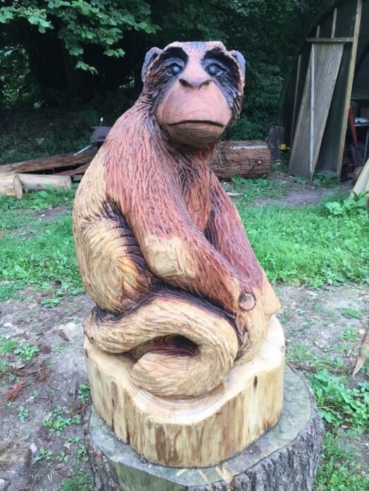 An Old Monkey chainsaw carving