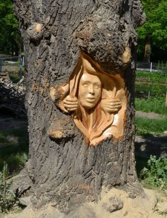 The Face of a Girl chainsaw carving