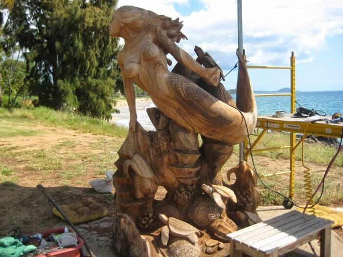 The Mermaid on Coral Reef chainsaw carving